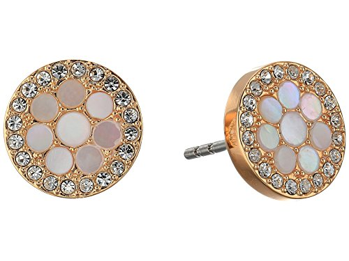 - Fossil Disc Mother-of-Pearl Stud Earrings, Rose Gold, One Size