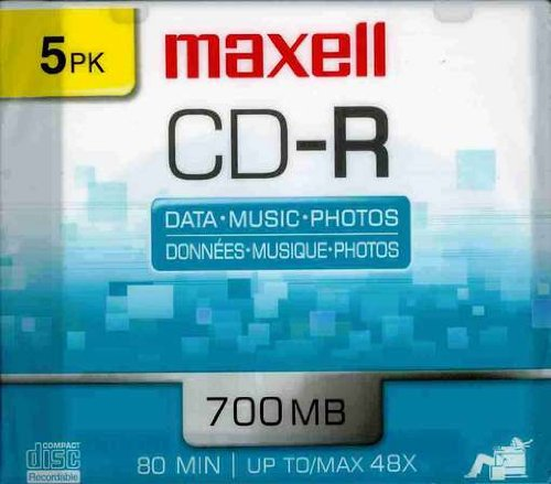 Maxell 648205 Polycarbonate Substate 700Mb 80 Min CD-Recordable Slim Jewel 5 Pack