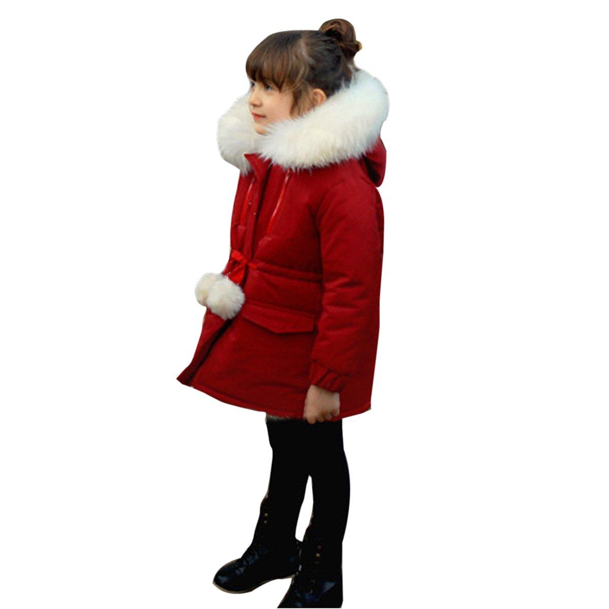 466cb20224425 Bebone Enfant Filles Hiver Duvet Manteau avec Capuche de fourrure avec  Capuche de fourrure