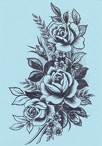 DaLin 4 Sheets Temporary Tattoos for Women (Black Rose)