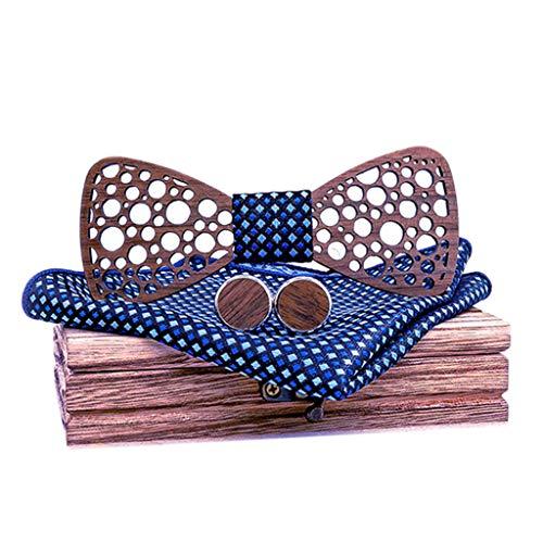 -  Orcbee  _Men's Manual Wooden Bow Tie Handkerchief Set with Gift Wooden Box (B)