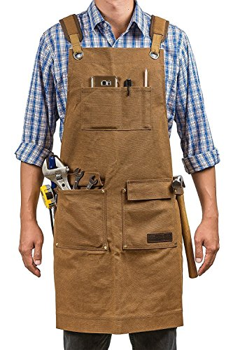 Luxury Waxed Canvas Shop Apron | Heavy Duty Work Apron for Men & Women with Pocket & Cross-Back Straps | Adjustable Tool Apron Up To XXL (Brown) (Closure Adjustable Knot)