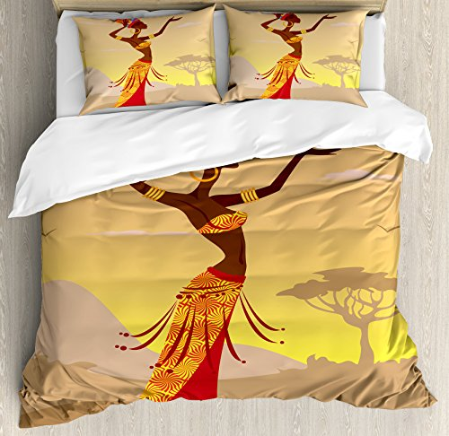 Ambesonne Afro Decor Duvet Cover Set, African Woman in Desert with Gulls Flying Around Folk Female Stylish Artful Print, 3 Piece Bedding Set with Pillow Shams, Queen/Full, Amber Tan