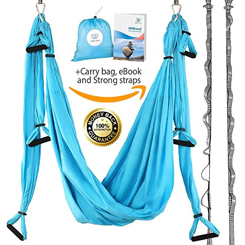 Yoga Swing – Antigravity Yoga Hammock – Aerial Trapeze – Sling – Inversion Tool for Back Pain Relief – 2 Hanging Straps – 4 Heavy Duty Carabiners – 6 EVA Handles and Beginner PDF Guide I