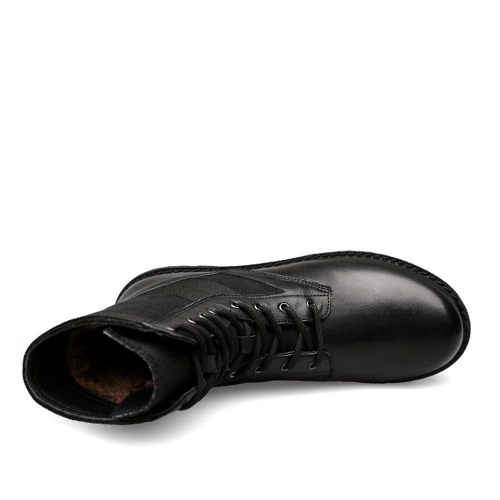 Fuxitoggo Herrenmode Stiefel Mitte-Kalb, lässig aus Leder echtem Leder aus für große Martin Stiefel (warme Velvet optional) (Farbe   Warm schwarz, Größe   42 EU) (Farbe   Wie Gezeigt, Größe   Einheitsgröße) 8640ab