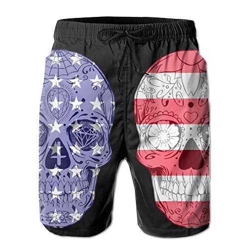 (Sugar Skull USA Flag Black Elastic Waist Mens Boardshorts Quickly Drying Swim Trunks Board Shorts with Pocket XL)