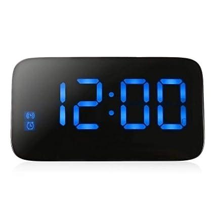 LED Reloj Despertador Digital Relojes De Escritorio Control De Voz Pantalla De Tiempo Snooze Electrónico Retroiluminación
