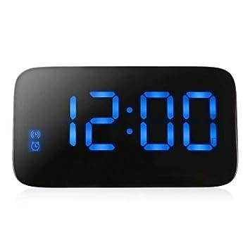 LED Reloj Despertador Digital Relojes De Escritorio Control De Voz Pantalla De Tiempo Snooze Electrónico Retroiluminación Mesa Reloj Digital con Cable USB: ...