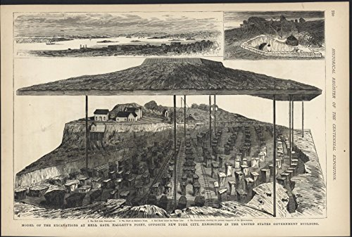 Model of Excavation Hell Gate New York Centennial 1876 antique wood - Antique 1876 Engraving