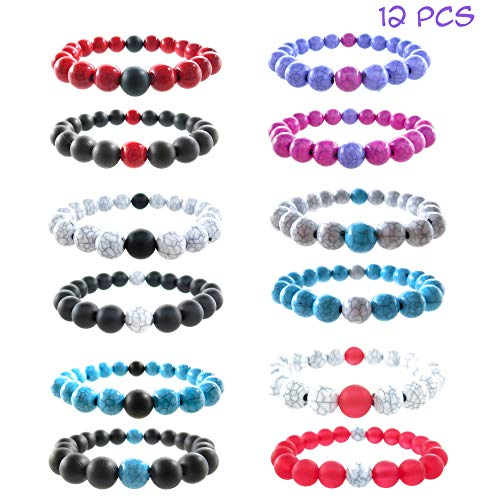 FROG SAC 12 PCS Friendship Bracelets Party Favors - Bulk Stretch Bracelet Assortment with Frosted and Tie-Dye Beads - Great for Piñata, Birthday Parties, Goodie Grab Bags, Classroom Priz (12 -
