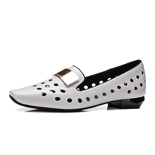 2018 Zapatos de Mujer de Primavera Verano Cuero Slip-Ons Mocasines Planos Ahueca hacia Fuera
