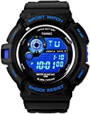 Fanmis Military Mens Sport Watches Multi Function Digital Alarm Waterproof Black Rubber Strap Watch