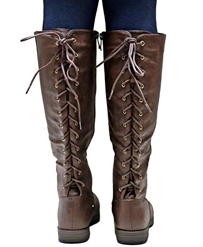Cowboy Brown Boots Western Glaze Adjustable Riding High Lace Knee GSra zzqZw7R0