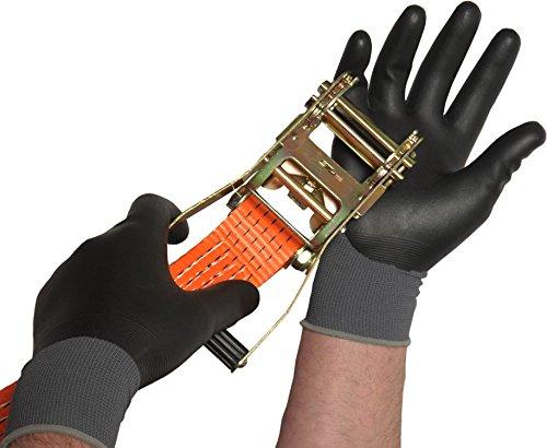 Schwarz Komplett beschichtete Nitril-Arbeitshandschuhe, wasserdichte Garten-Handschuhe, alle Größen 7–10x 2Paar, UK 7 Small X 2 Pairs, 2