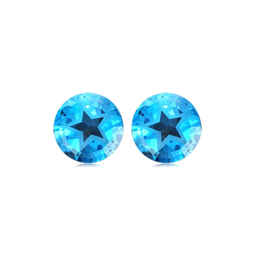 Mysticdrop 9.5-10.71 Cts of 10 mm Texas Star AAA Matching Loose Swiss Blue Topaz (2 pcs) Gemstones by Mysticdrop (Image #1)
