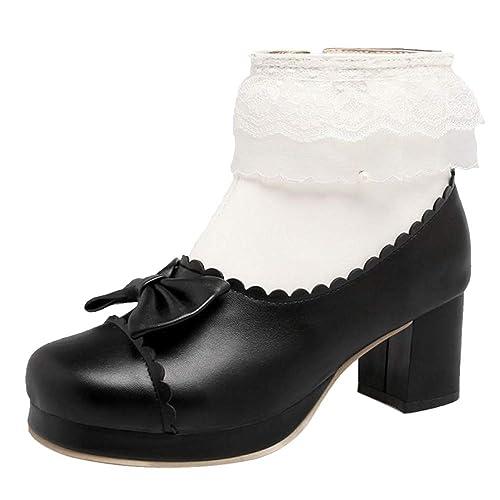 RAZAMAZA Mujer Tacón Ancho Botas de Tobillo Cremallera: Amazon.es: Zapatos y complementos