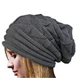 Dressin Chunky Knit Womens Winter Beanie Hat Slouchy Beanie Coffee (Small Image)