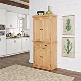 Natural Kitchen Pantry, Crafted From Hardwood Solids and Veneers, With Engineered Wood, Finished in a Natural Clear Maple Finish, Features a Single Center Drawer With 2 Fully Adjustable Shelves