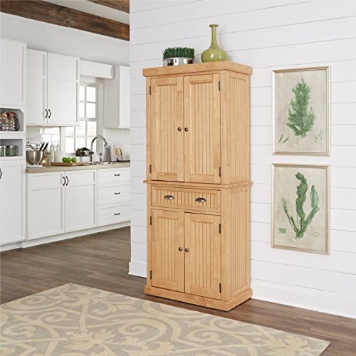 Natural Kitchen Pantry, Crafted From Hardwood Solids and Veneers, With Engineered Wood, Finished in a Natural Clear Maple Finish, Features a Single Center Drawer With 2 Fully Adjustable Shelves by GAShop