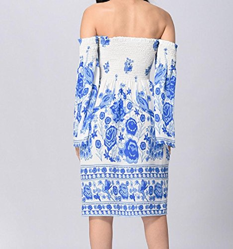 Women Dress Cold Draped Line Chiffon Blue Print A Swing Shoulder Coolred Flared Owd4q4
