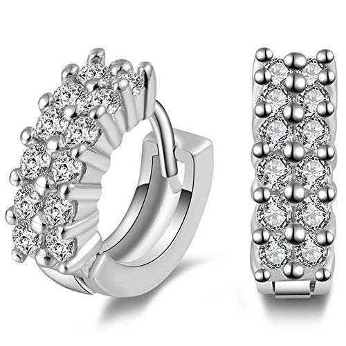 silver earrings 925 ladies_ women's earrings silver 925_ cute silver ladies_Cubic Zirconia Earrings_ Huggie Earrings
