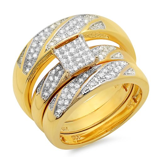 0.30 Carat (ctw) 18K Yellow Gold Plated Silver Round Diamond Men & Women Engagement Ring Trio Set 1/3 CT