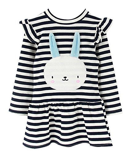 BomDeals Cute Toddler Girl Bunny Stripe Dress, Adorable Kids Sweet Shirt Top and Skirt (Two Tone Stripe Shirt)