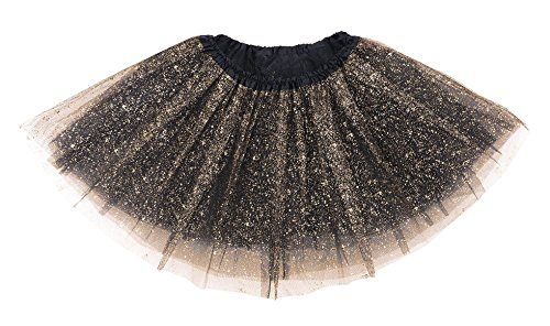 Simplicity Girl's Classic 4 Layers Tulle Tutu Skirt with (Girls Black Sequin)