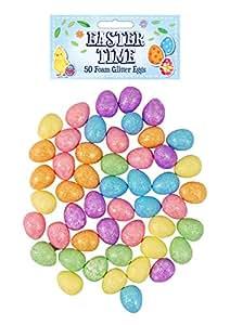 Easter Time 50 Foam Mini Glitter Eggs in Assorted Colours 1.8cm