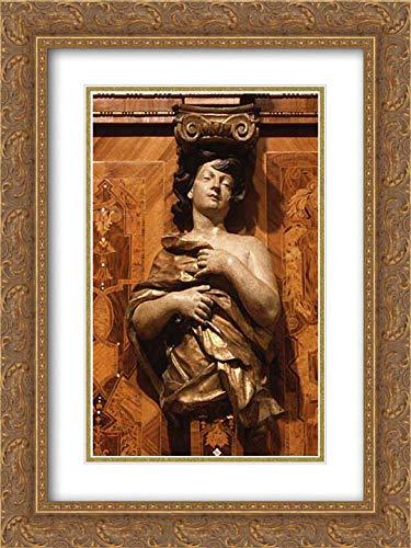 Johann Justus Schacht - 18x24 Gold Ornate Frame and Double Matted Museum Art Print - Choir stall Panels