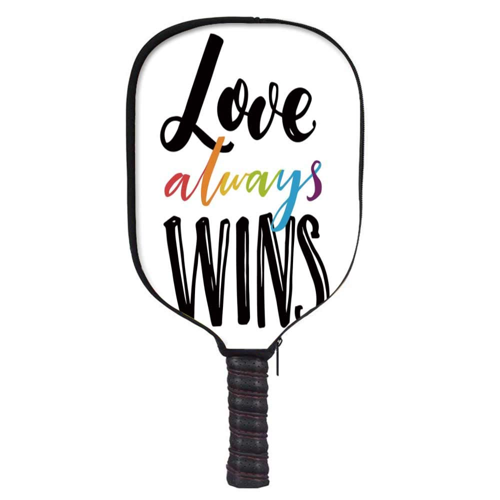 MOOCOM Pride Decorations Fashion Racket Cover,Love Always Wins Romantic Saying with Rainbow Colored Hand Drawn Letters for Playground,8.3'' W x 11.6'' H