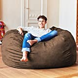 Lumaland Luxury 5-Foot Bean Bag Chair with Microsuede Cover Brown, Machine Washable Big Size Sofa and Giant Lounger Furniture for Kids, Teens and Adults