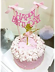 HAPPY BIRTHDAY Cake Bunting Topper with Pink Bows and Straws Gold Glitter Ballerina Cake Topper with Pink Dress Set of 2, Assembled Already, Birthday Party Decorations for Girls, Sold by Soccerene