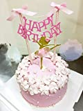 Happy Birthday Cake Bunting Topper with Pink Bows and Straws Gold Glitter Ballerina Cake Topper with Pink Dress Set of 2, Birthday Party Decorations, Handmade and Sold by Soccerene