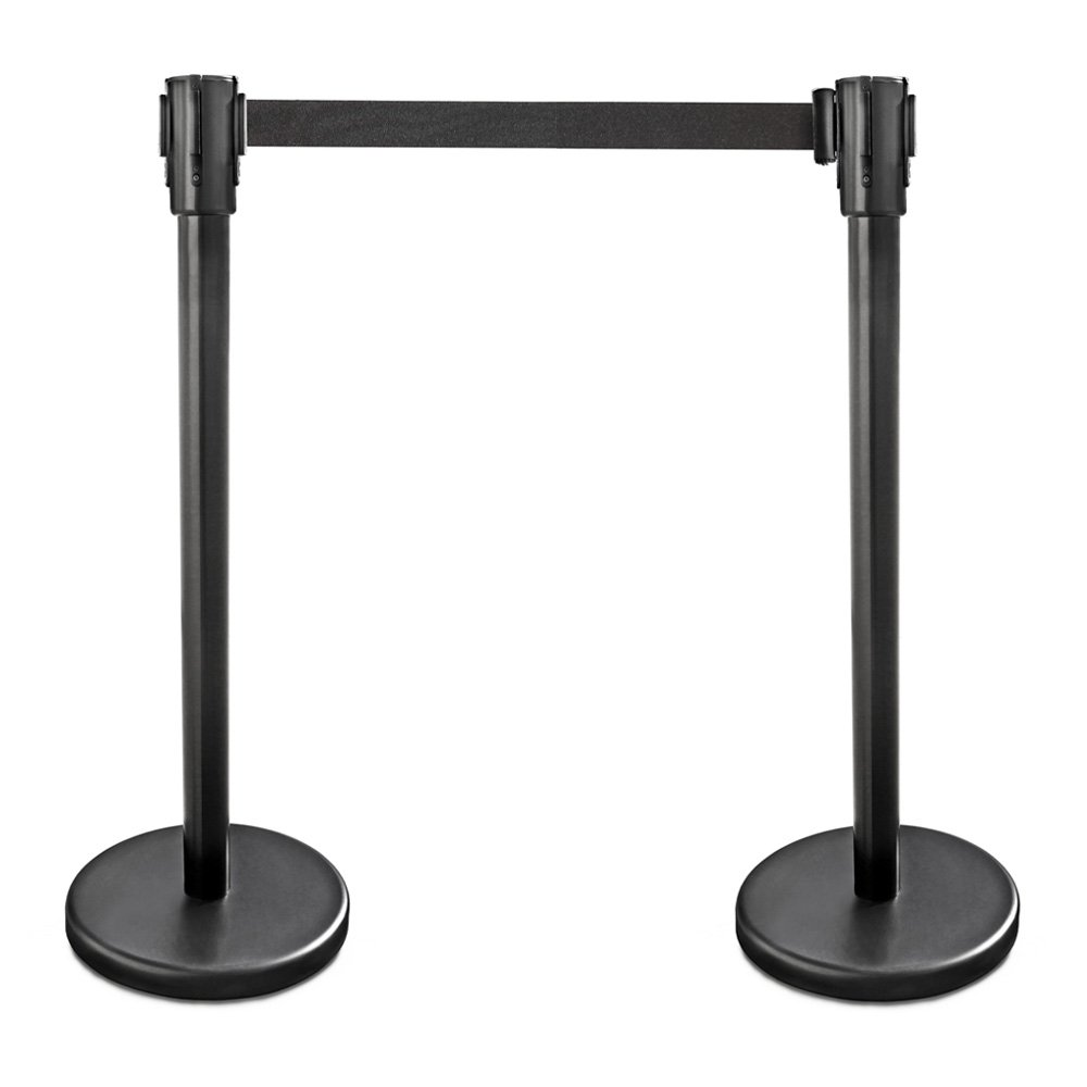 New Star Foodservice 54590 Stanchion, 36-Inch Height, 6.5-Foot Retractable Belt, Set of 2, Black by New Star Foodservice