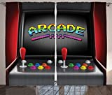 Video Games Curtains 2 Panel Set by Ambesonne, Arcade Machine Retro Gaming Fun Joystick Buttons Vintage 80's 90's Electronic , Living Room Bedroom Decor, 108 W X 90 L Inches, Multicolor