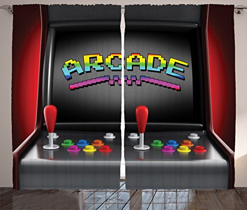 Video Games Curtains 2 Panel Set by Ambesonne, Arcade Machine Retro Gaming Fun Joystick Buttons Vintage 80's 90's Electronic , Living Room Bedroom Decor, 108W X 84L Inches, Multicolor