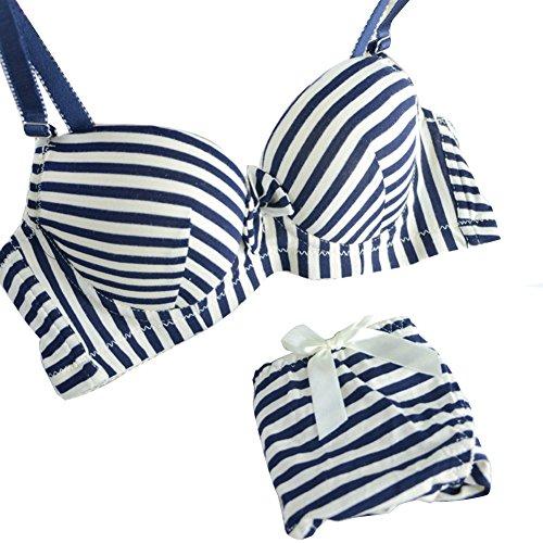 ROPALIA Womens Charm Sexy Padded Striped Underwear Push Up Bra and Panty Set (Cotton Push Up Sexy Bra)