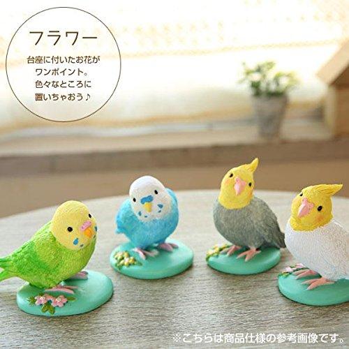 Kotoriiro Soft And Downy Series Small Resin Bird Figurine Flower Parakeet Blue Home Garden