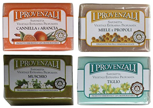 i-provenzali-set-of-four-saponetta-vegetale-vegetable-perfumed-soap-cinnamon-and-orange-honey-and-pr