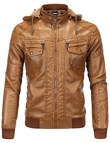 Tanming Men's Pu Leather Jacket with Removable Fur Hood (Large, Brown)