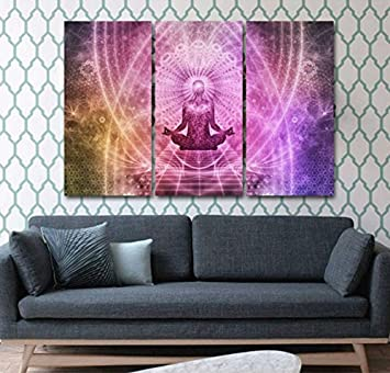 Amazon.com: Framed 3 Pcs art Print Chakras Canvas Painting Print oil ...