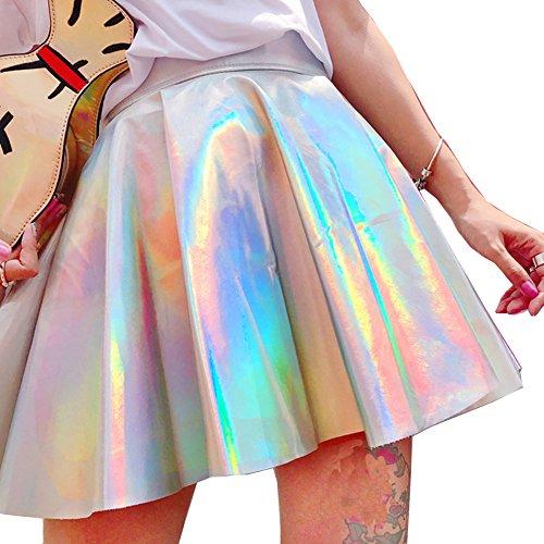 (Pinda Sexy Summer Women High Waist Silver Flare Skater Skirt (M))