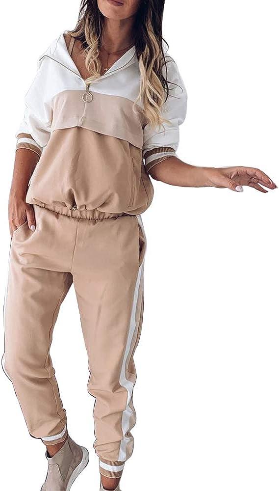 Tuta sportiva da donna per il tempo libero 2 pezzi Vertvie con cappuccio e maniche lunghe 2 pezzi