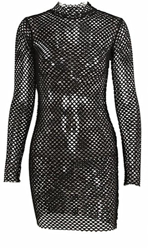 Jaycargogo Womens Sexy Résille Manches Longues Voir À Travers Noir Mini Robe Moulante