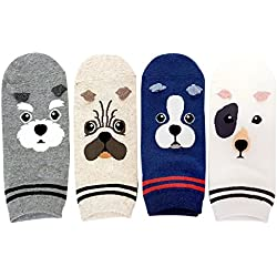 DearMy Womens Cute Animal Design Novelty and Funny Animal Cotton Crew Socks for women (Puppy 4 Pairs)