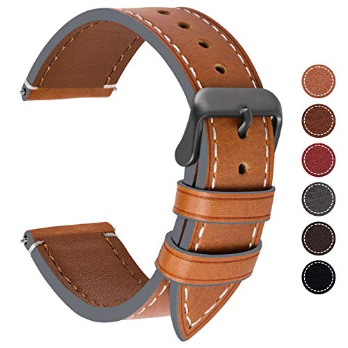 - Fullmosa 8 Colors Watch Band 22mm 18mm 20mm 24mm for Samsung Gear S3 Classic and Frontier/Huawei Watch 2 Classic Women Men, 22mm Light Brown + Smoky Grey Buckle