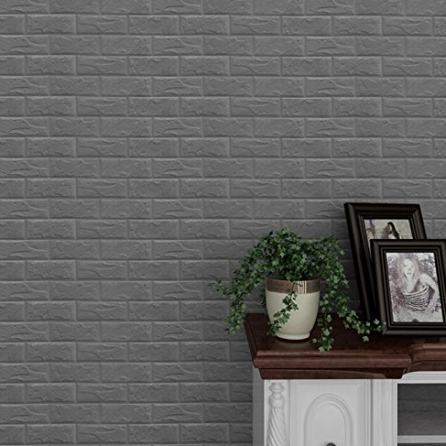 Foam 3D Multi-Colored Wall Stickers, Qisc Wallpaper Brick Stone DIY Wall Decor Embossed (Gray)