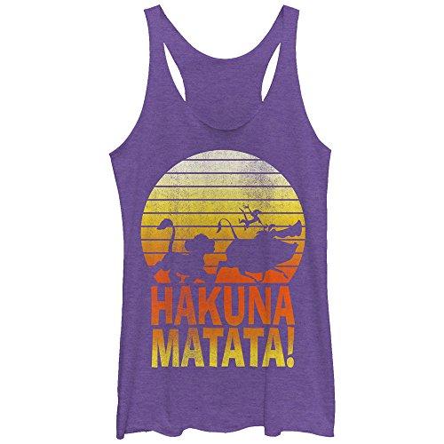 Lion King Women's Hakuna Matata Profile Purple Heather Racerback Tank Top by Fifth Sun