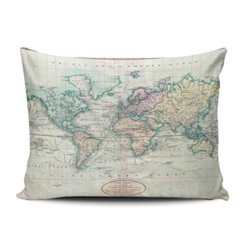 KEIBIKE Pillow Case Map of the World Personalized Rectangle Pillowcases Unique Decorative Throw Pillow Covers Cases Boudoir 12x16 Inches ()